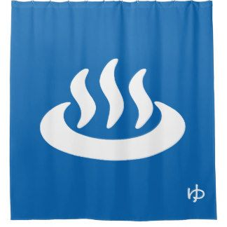 Onsen Hot Spring 温泉 Japanese Sign Shower Curtain Japanese