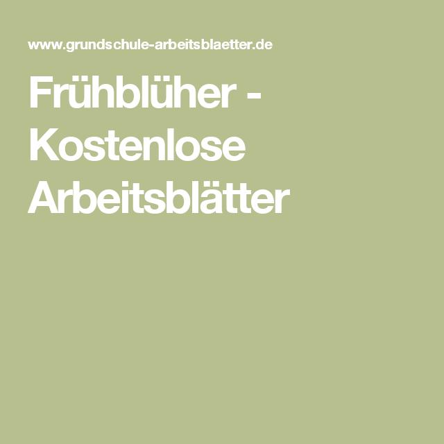 Frühblüher - Kostenlose Arbeitsblätter | Schule: Sachunterricht ...