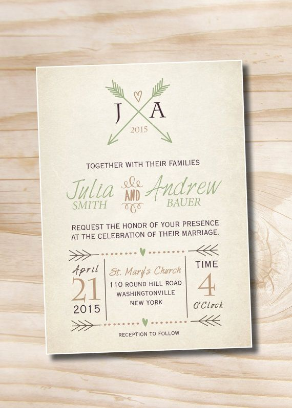 Vintage Arrows And Hearts Rustic Wedding Invitation And Aresponse Card Printed Sample Wedding Invitations Rustic Wedding Invitations Wedding Invitations Online