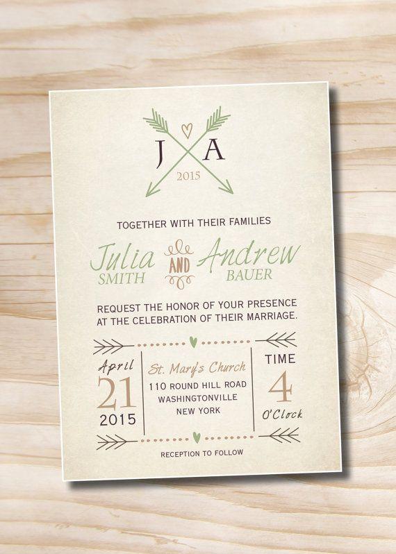 Partecipazioni Matrimonio Julia.Vintage Pfeile Und Herzen Rustikale Hochzeiteinladung Und Antwort