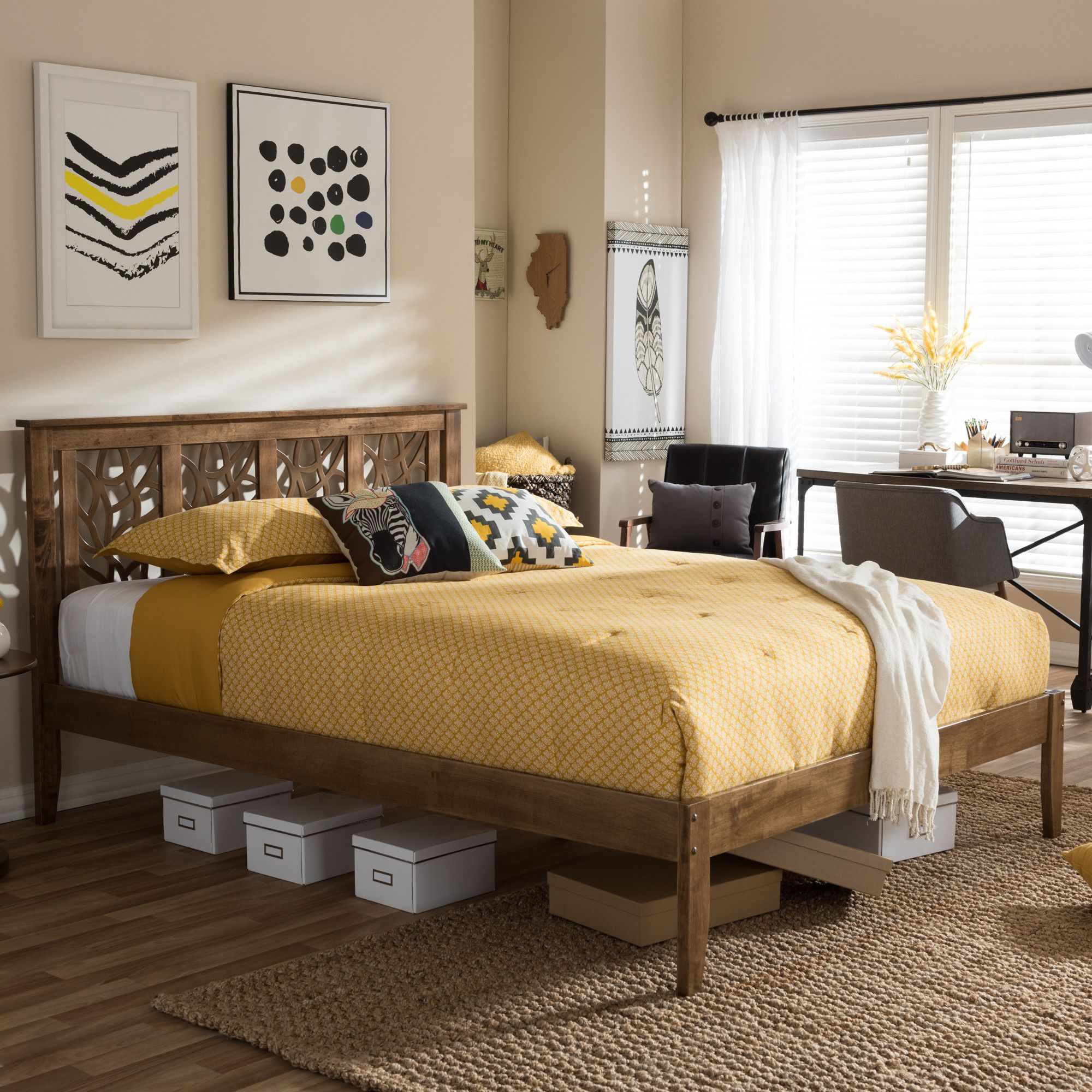 Features Tapered legs. Tree branches inspired headboard