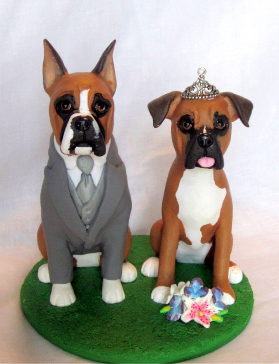 wedding cake topper with boxer dog custom sculpted boxer wedding cake topper www 26654