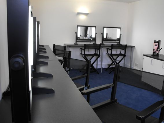 make up studio mirrors with lights and double height chairs the