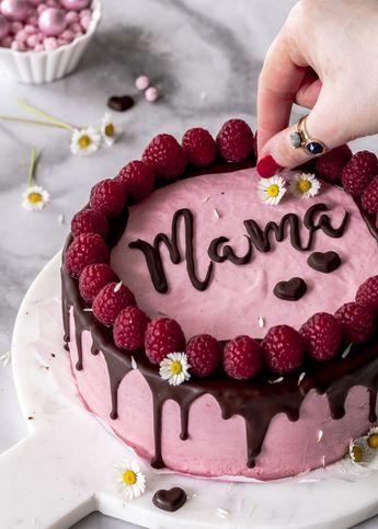 Photo of Rezept: Himbeermousse Torte mit Schokolade und Schriftzug zum Muttertag backen D…