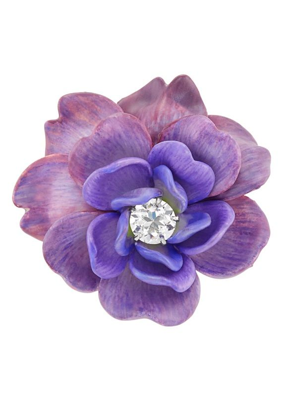 Tiffany & Co. - An Antique Gold, Purple Enamel and Diamond Flower Pendant-Brooch, Circa 1890. The flower applied with varied shades of purple enamel, centring one old European-cut diamond, signed Tiffany.