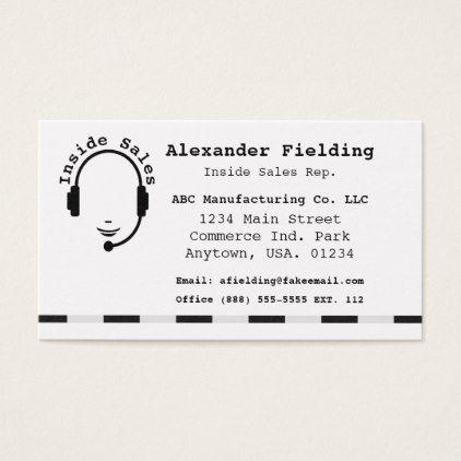 Inside Sales Representative Simple Black And White Business Card Zazzle Com White Business Card Business Cards Simple Professional Business Cards