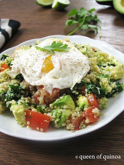 Amazing!   Cinco de Mayo Quinoa Breakfast - steamed kale, avocado, tomatoes & lots of cilantro!
