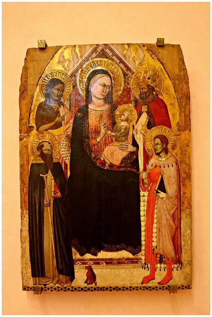 Jacopo da Firenze - Madonna col Bambino fra i santi Antonio abate, Giovanni Battista, Giuliano e Nicola di Bari - 1390-1395 - Museo Bandini, Fiesole