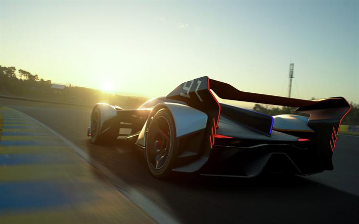 Lataa kuva McLaren Ultimate, Vision Gran Turismo käsite, 2017, superauto, kilpa-auto, takaa katsottuna, Brittiläinen urheiluautoja, McLaren
