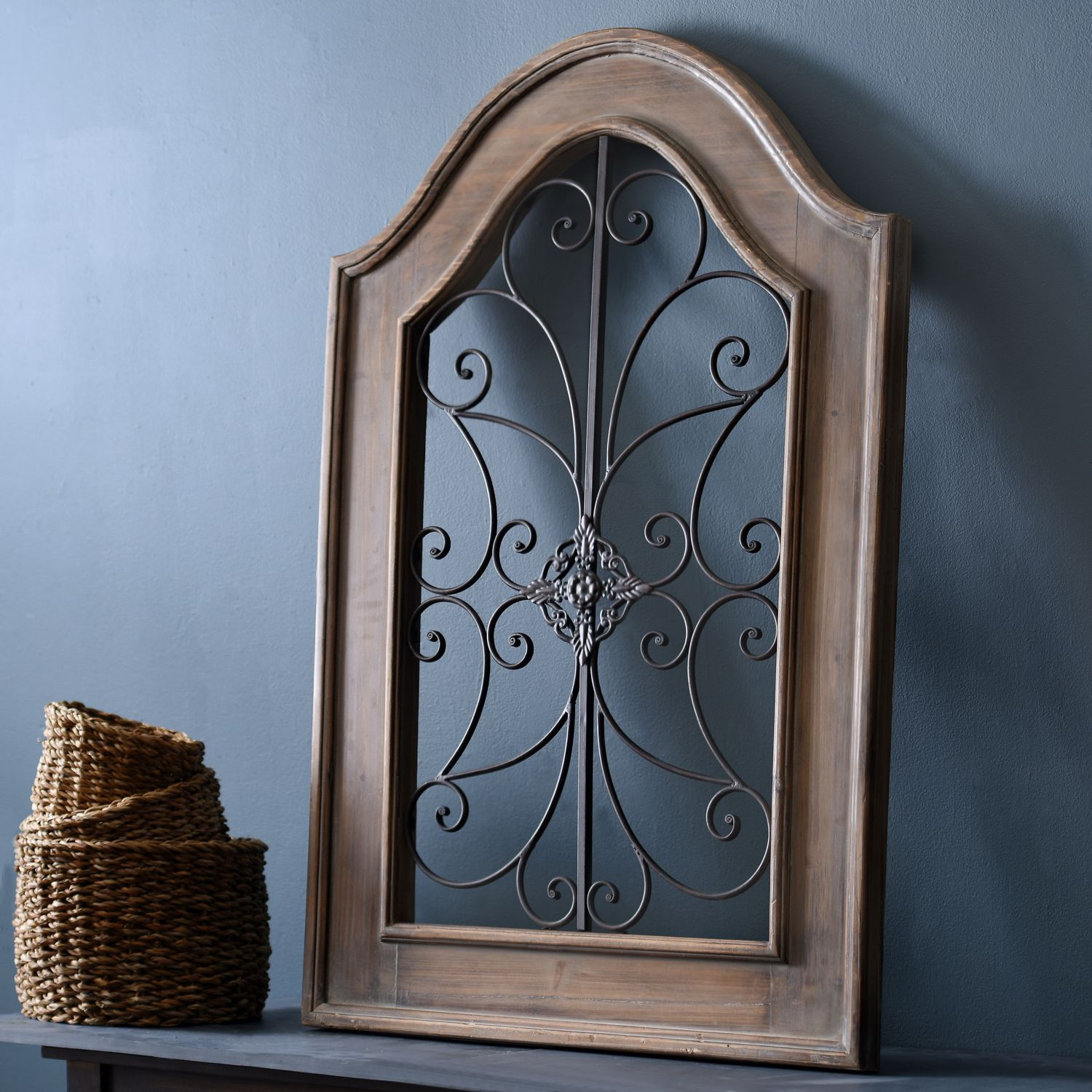 Wood And Metal Wall Plaque Natural Arch Wood And Metal Wall Plaque  Scroll Design Metal