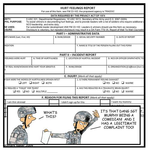 Retired Army MSG Mark Baker began penning PVT Murphyu0027s Law for his - injury incident report form template