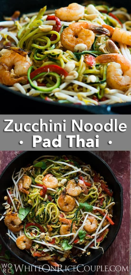healthy zucchini noodle pad thai in 2020  pad thai recipe