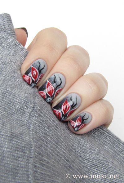 Flowers In The Dark Hand Painted Nail Art