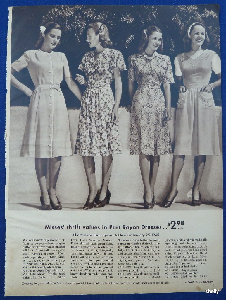 Dresses Suits Spring Summer Womens Clothing Vintage 1940s Sears Ads