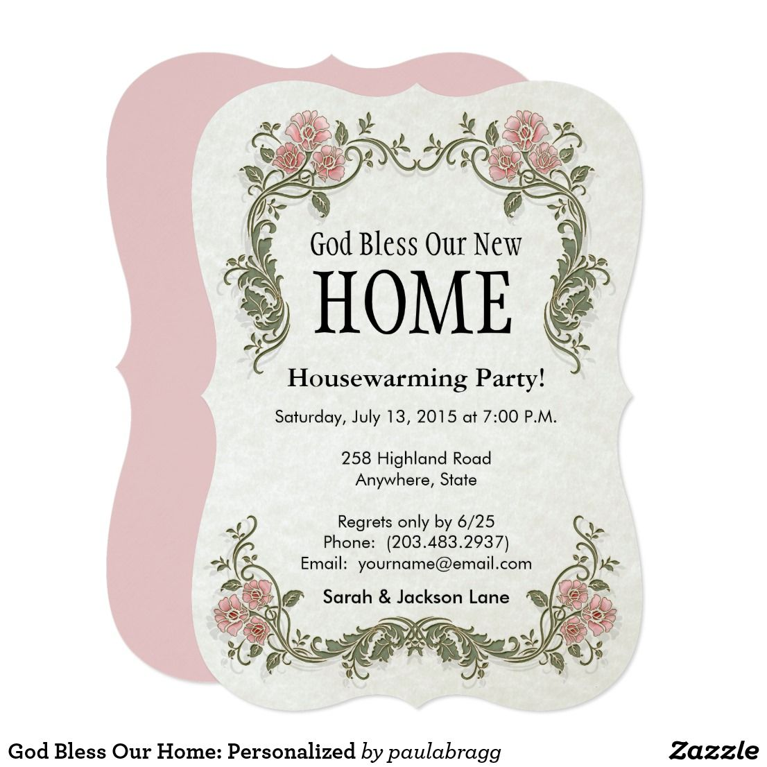 God Bless Our Home Personalized Invitation Zazzle Com