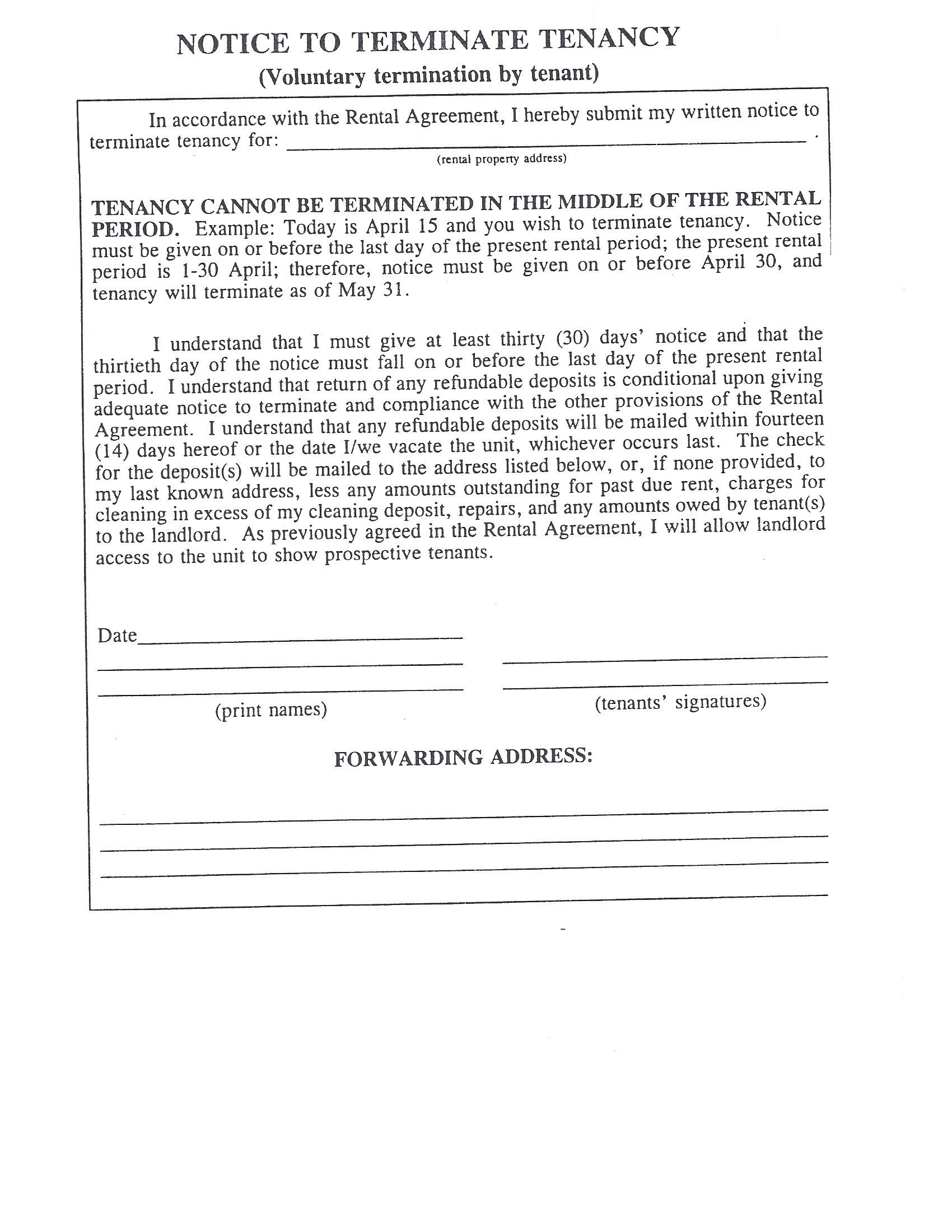 Tenancy Termination Letter Sample Month Notice End Renters Day