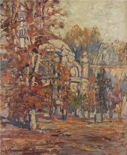 Alif Art  Kasimir Rubolowski  Kucuk Mecidiye Mosque  50.00 x 40.00 cm.  19.69 x 15.75 in.  1920  Oil on canvas  Signed