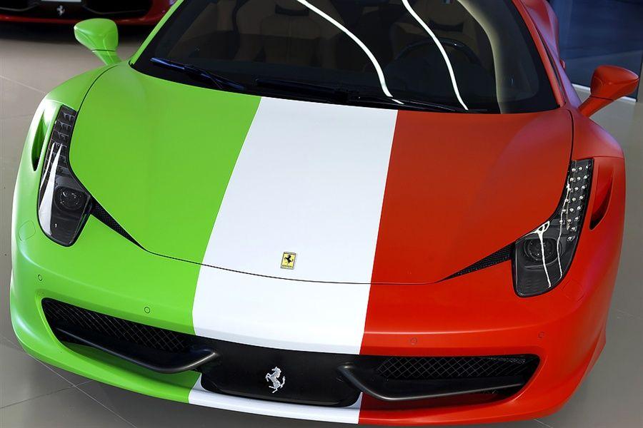 Ferrari 458 Italia Wrapped In Italian Flag Front Pictures