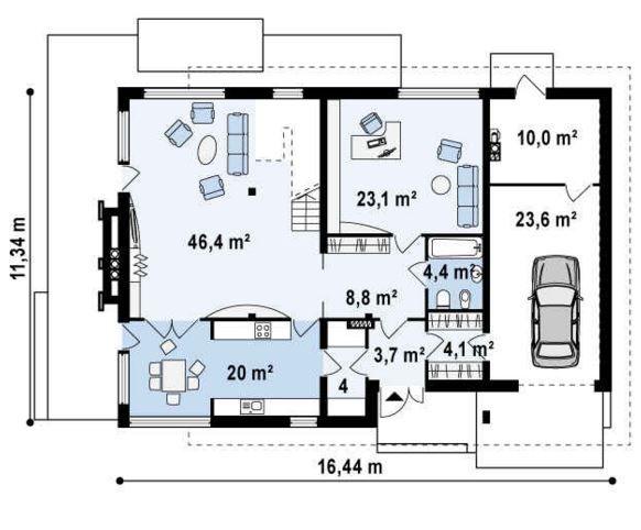 Plano de casa moderna con oficina planos casa oficina for Oficinas modernas planos
