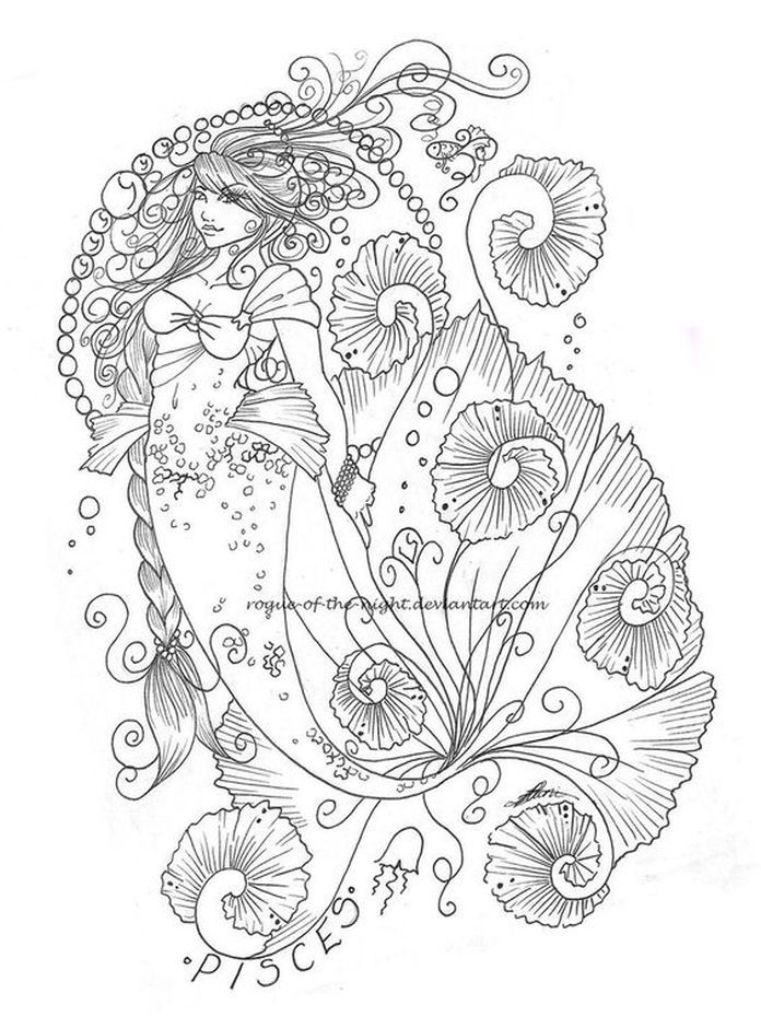 pisces intricate coloring pages of zodiac signs | Fantasy Coloring ...