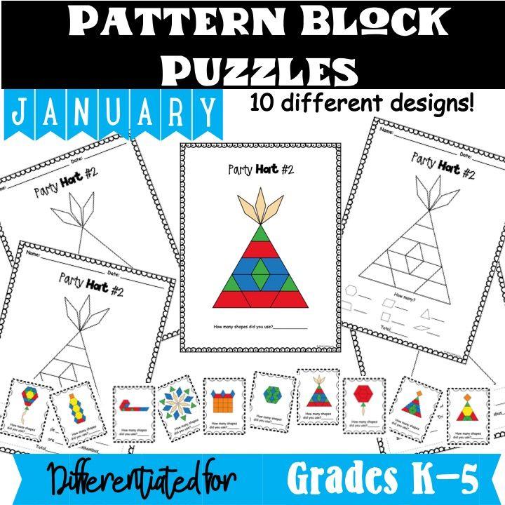 january pattern block puzzles  pattern blocks shape