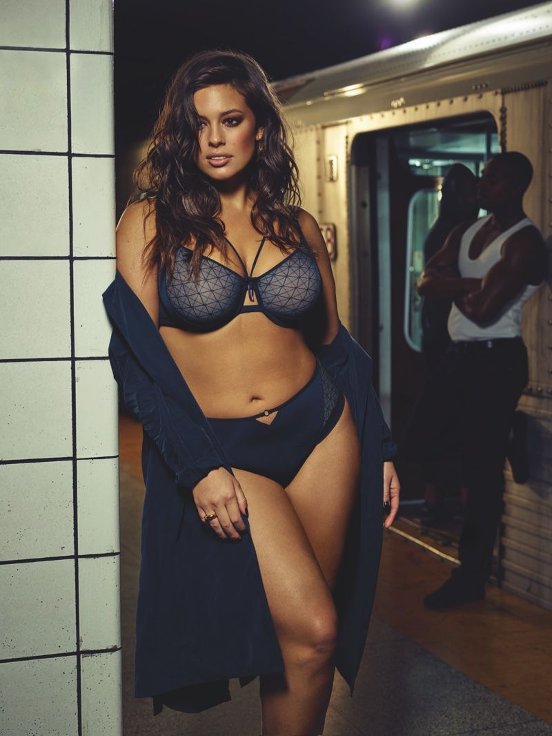 b13894401 Ashley Graham wears lingerie brings the heat while posing on the subway for Addition  Elle fall 2016 campaign