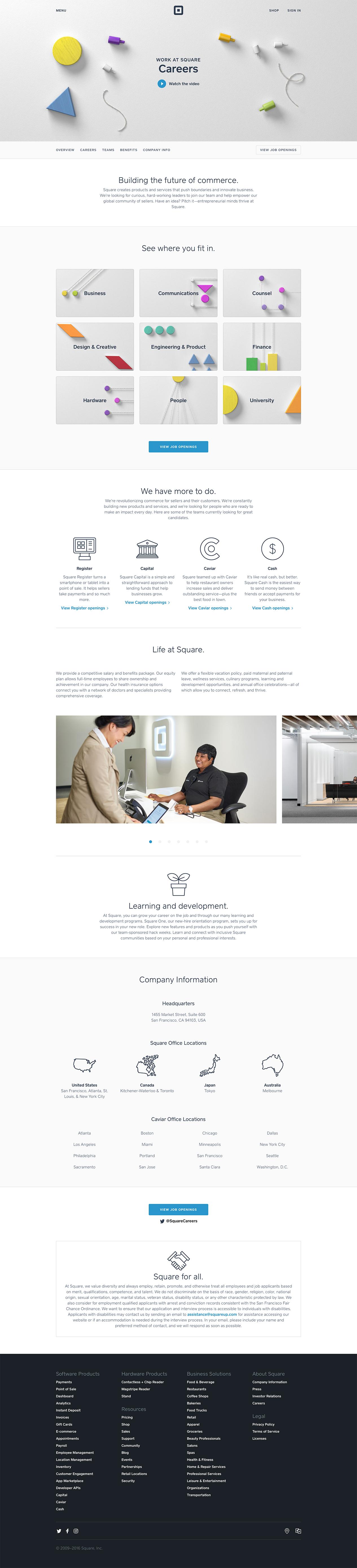 Work At Square Careers Landing Page Design Inspiration Lapa Ninja Web Design Inspiration Ecommerce Website Inspiration Best Landing Page Design