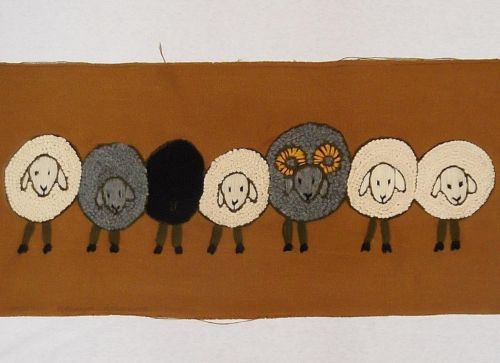 The-Group-Black-Sheep-FINISHED-Kit-Completed-Paragon-Vintage-CREWEL-Embroidery