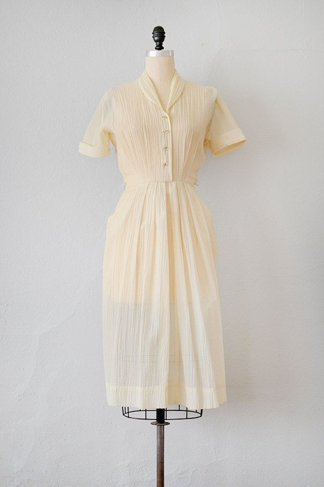 2a7ba8bed2b8 Claimarais Dress // Ivory sheer shirt dress, 1950s | Debbie of California  // Adored Vintage