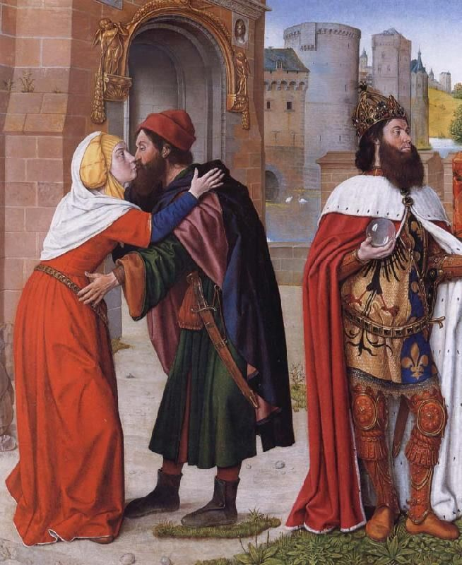 STUDIO OF THE MASTER OF MOULINS, active 1483-c. 1500: Joachim and Anne meeting at the Golden Gate. Oil on panel, 72 x 59.