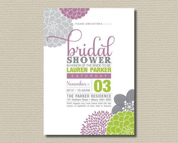Printable Bridal Shower Invitation  Floral Invite  Mauve, Lime - printable bridal shower invites