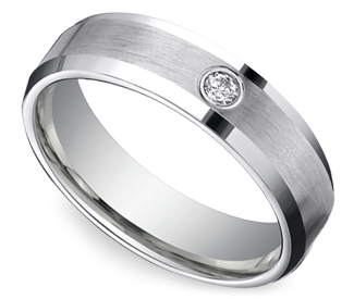Inset Beveled Men S Wedding Ring In White Gold