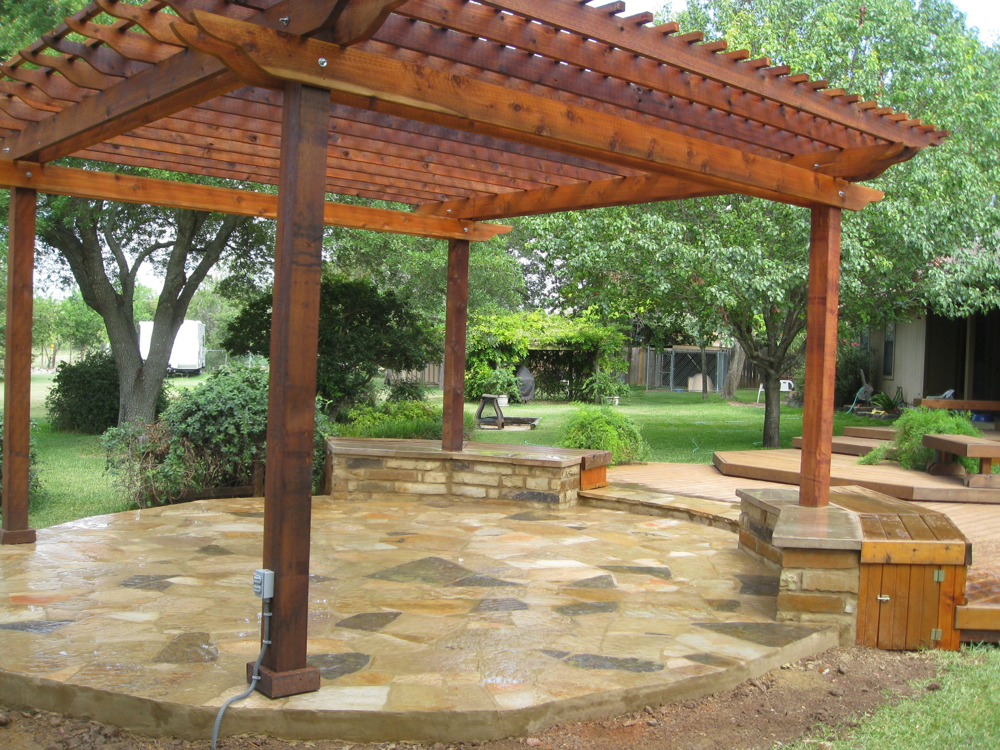 Custom trellis to match pergola landscapes by earth design - Oklahoma Flagstone Patio Constructed By Ol Yeller Landscaping South Austin Texas