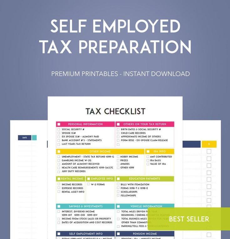 Self employed tax preparation printables instant