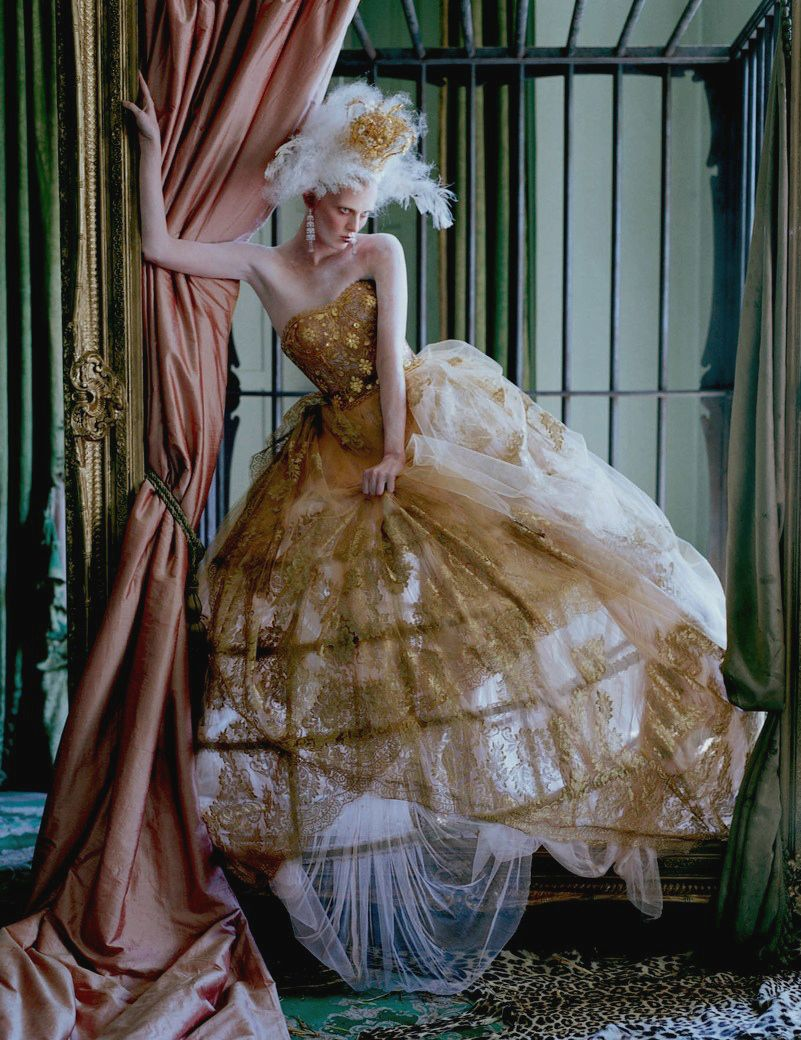 Karen Elson in 'The Lion King' Photographer: Tim Walker Dress: Dolce & Gabbana Alta Moda S/S 2013