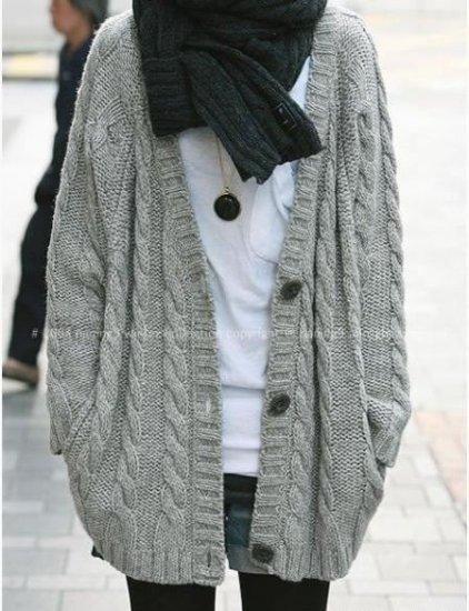 BeautyMyth** Three Button Warm Thick Long Cardigan ~ Light Grey ...