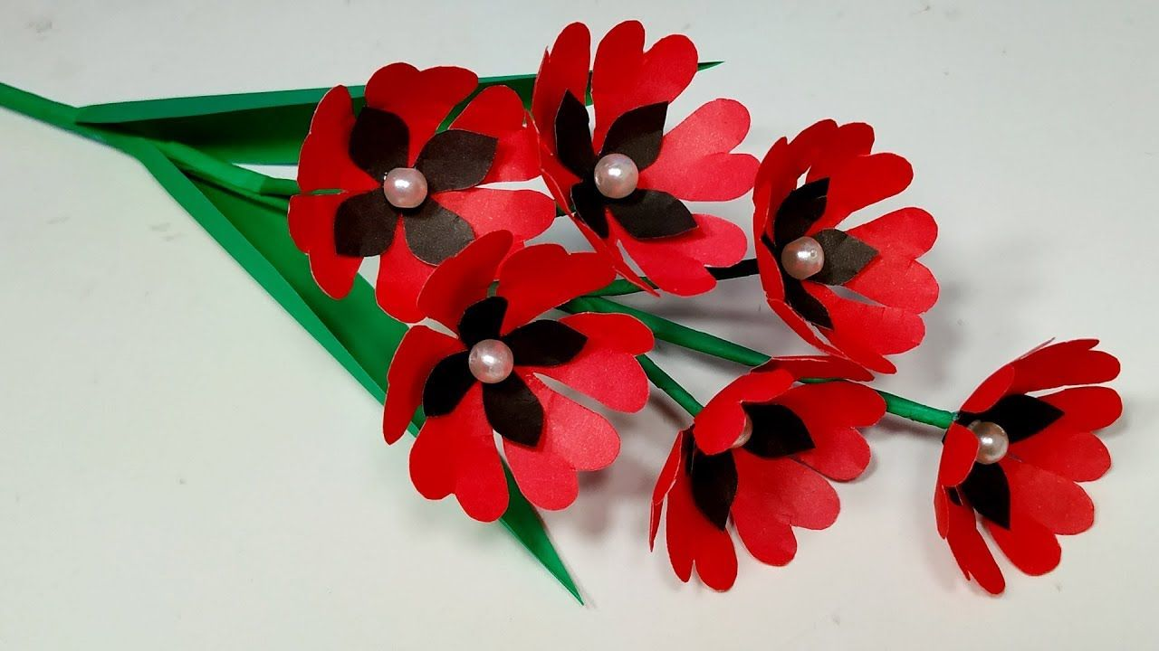 Paper Craft How To Make Stick Flower Easy Idea Handcraft Idea