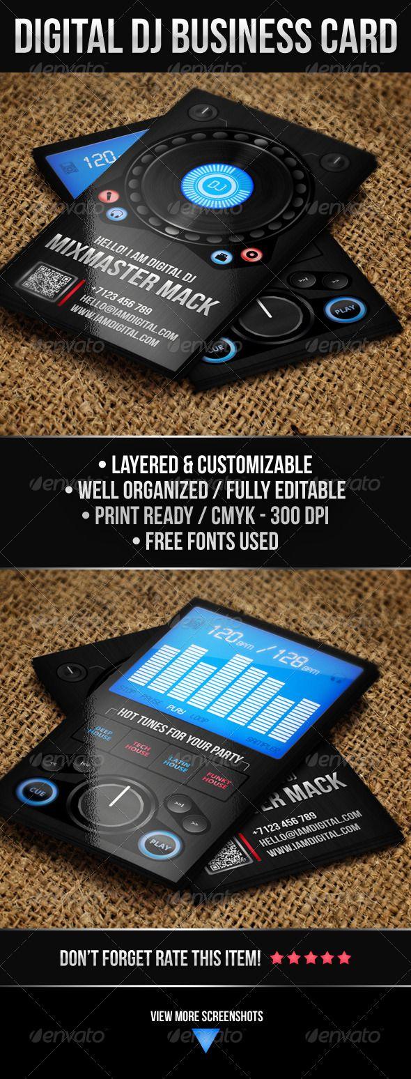 Digital DJ Business Card | Dj business cards, Dj and Business cards