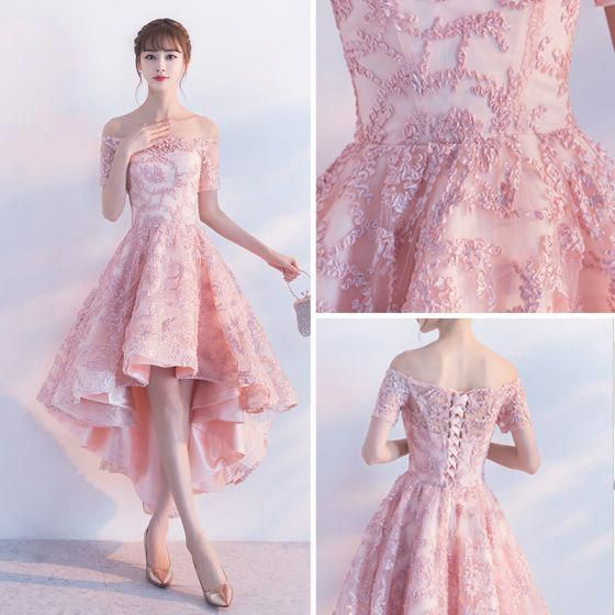 Chic / Beautiful 2017 Blushing Pink Cocktail Dresses A-Line / Princess Lace Appliques Strapless Backless Evening Dresses #cocktaildresses #backlesscocktaildress