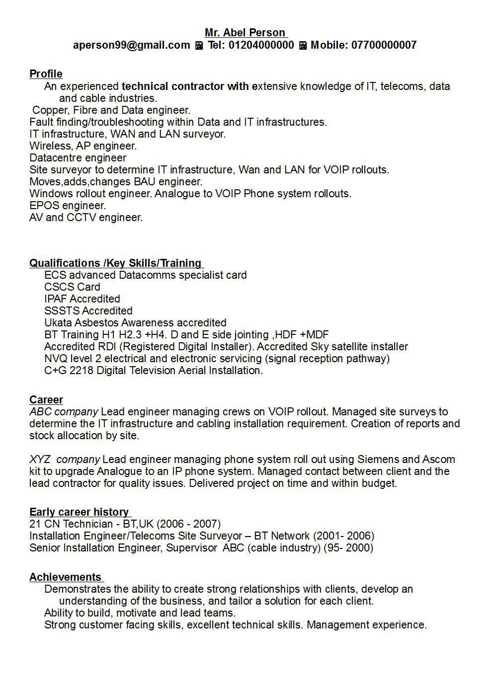Cv Template Key Achievements Resume examples, Cv