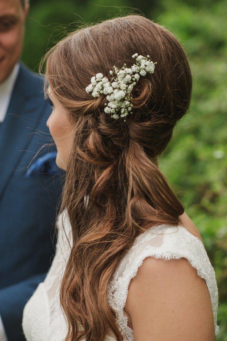 pretty blue country barn spring wedding | bridal hair