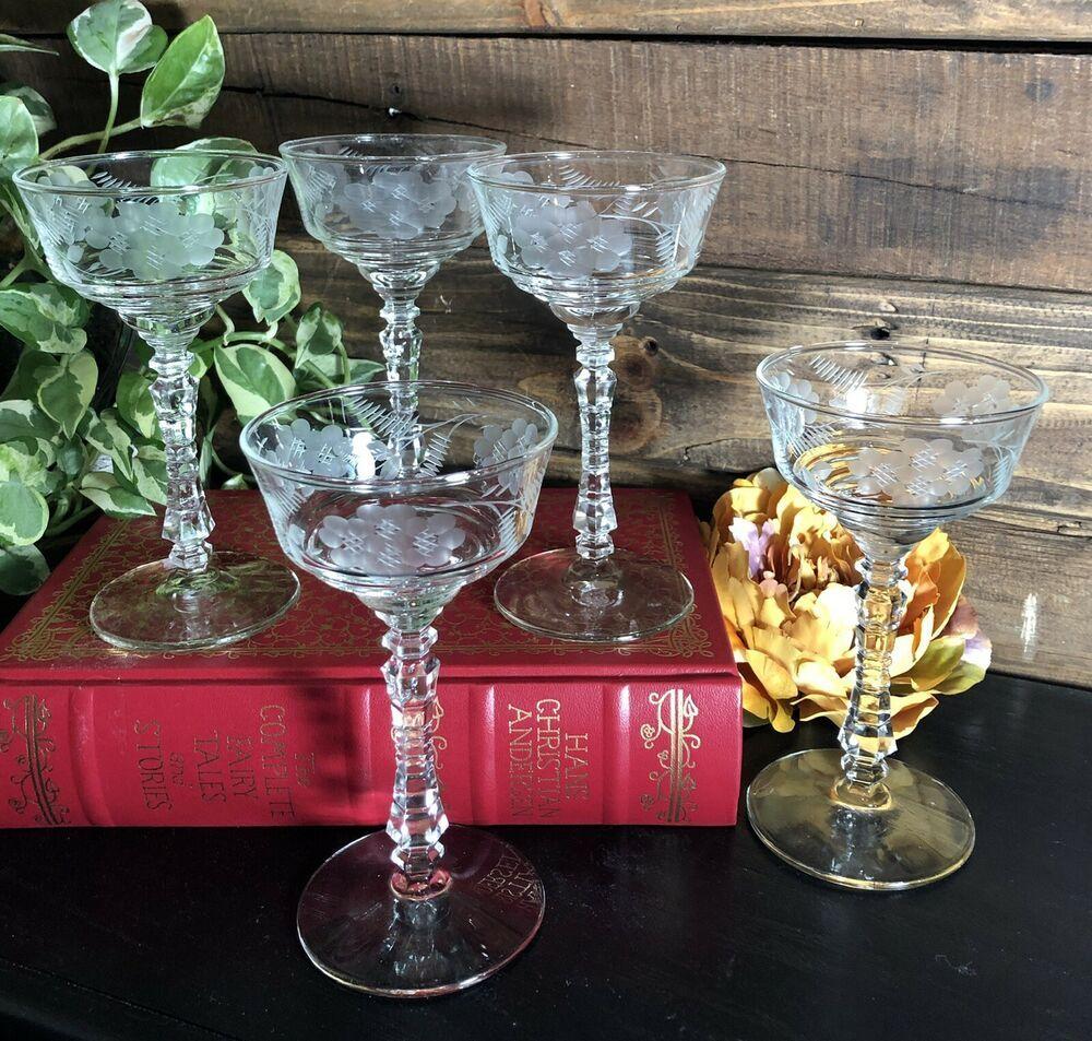 5 Rock Sharpe Vintage Etched Desert Champagne Glasses Floral 1940 S Glasses Rocksharpe Traditional Coupe Glass Champagne Champagne Glasses