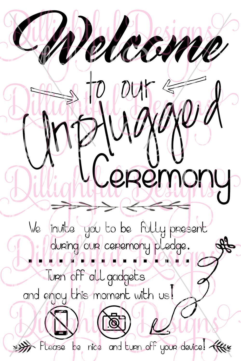Unplugged wedding sign wedding ceremony signs vinyl cutter sign quotes bride groom