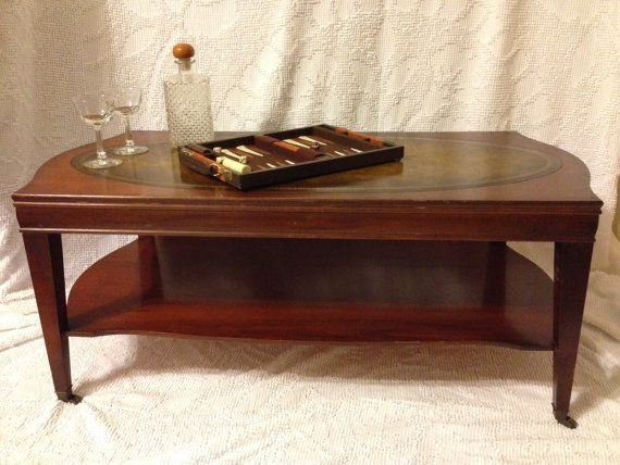 Awesome Picture of Antique End Tables With Leather Inlay