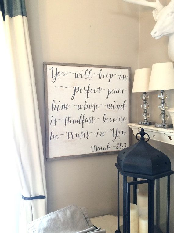 You Will Keep In Perfect Peace Framed Wood Sign Christian Home Rhpinterest: Christian Home Decor At Home Improvement Advice