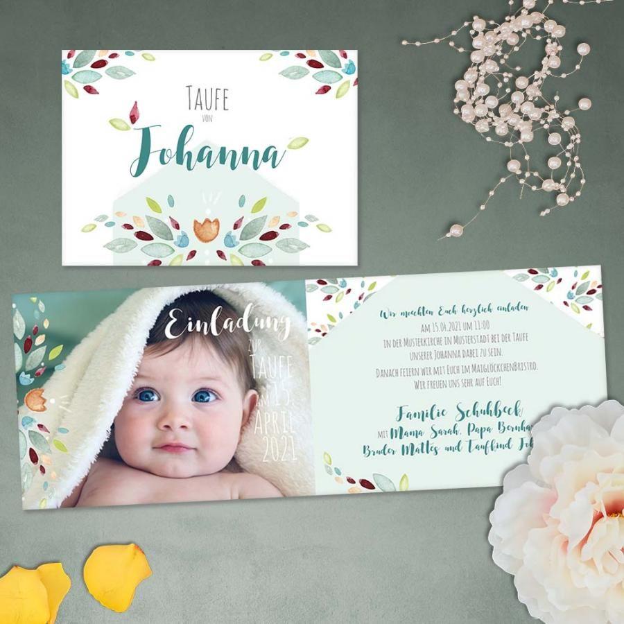 Blütenzauber | Einladung zur Taufe #taufe #einladungskarte ... - Taufe Einladungskarte