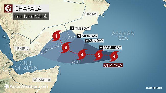 Powerful Cyclone Chapala Targets Oman and Yemen Meterology - fresh yemen in world map
