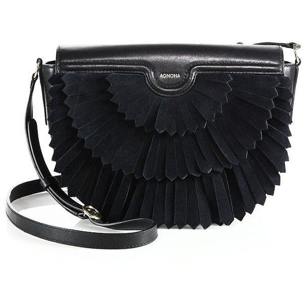 Agnona Polette Fringed Suede & Leather Saddle Bag (2,110 CAD) ❤ liked on Polyvore featuring bags, handbags, shoulder bags, apparel & accessories, black, suede fringe purse, saddle bags, suede purse, agnona and suede leather handbags