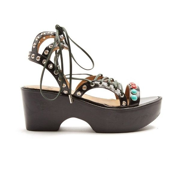 Toga Polido lace-up wedge sandals ($333) ❤ liked on Polyvore featuring shoes, sandals, strappy sandals, strap sandals, wedge heel sandals, strap wedge sandals and leather shoes