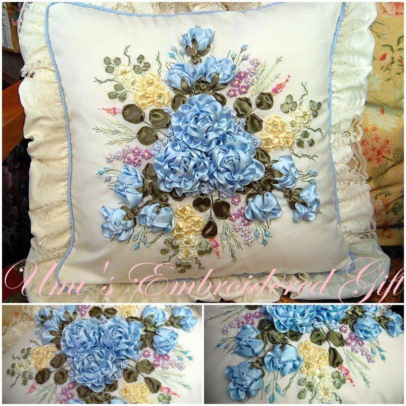 وسائد مخدة بالتطريز بالشرائط اكاديمية بنت مفيد لتعليم الخياطة وتصميم الازياء والمهارات Crafts Embroidery Throw Pillows